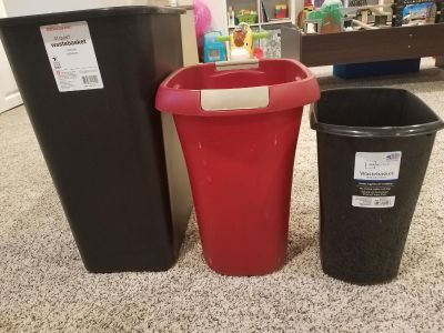 Three garbage cans