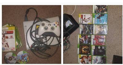 Xbox 360, games, controllers, and all cords