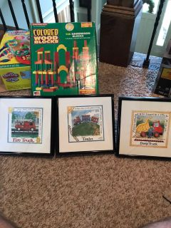 3 kids picture frames train dump truck fire truck