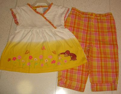 New 2 Pc Set - Curious George Monkey Plaid Ruffled Trim Printed Top & Matching Melon Colored Plaid Cotton Pants w/Cuff & Button Accents