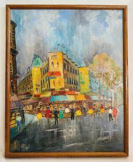 PM Fleut Vintage Painting Paris Boulevard Haussman