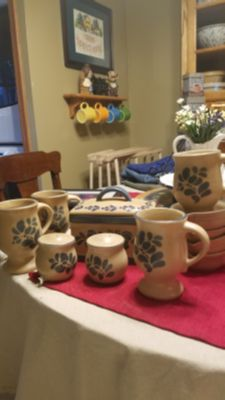 Phlatzgraf Folkart dishes. Kitchen keeper, salt and pepper shakers, 4 mugs, 4 butter warmers