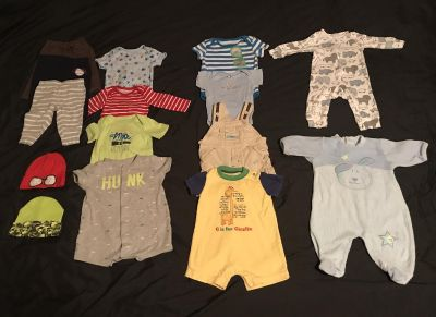 Baby boy clothes 0-3 and 3 months.
