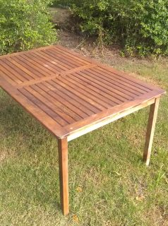"""TEAK """"LOOK"""" OUTSIDE TABLE W UMBRELLA OPENING IN MIDDLE"""