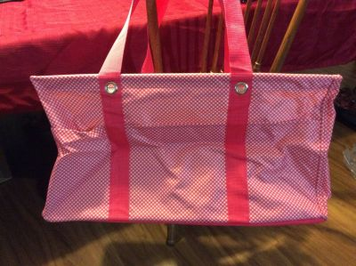 Thirty One large utility tote pink and white