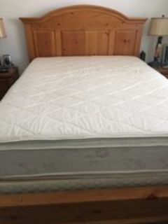 Queen size mattress with solid wood frame
