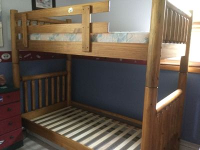 Solid wood twin beds/bunk beds.
