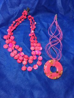 2 pink necklaces beaded resin shells