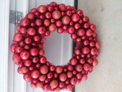 Christmas wreath with Christmas ornaments