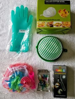 Salad Cutter Bowl, Silicone Gloves, Strech Lids and Can Opener