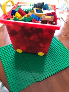 Duplo LEGOs and rolling case
