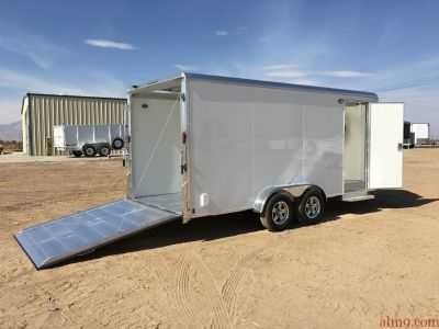 7X16 ALUMINUM ENCLOSED CARGO TRAILER, TANDEM AXLE MOTORCYCLE TRAILER, ALUMA AE716TAR