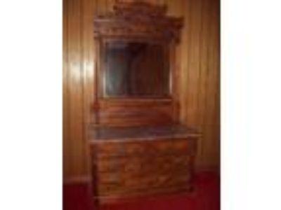 Antique Furniture, tables, curio, oak desk, mission oak desk, marble-top dresser