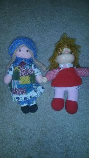 Two vintage dolls, one in plaid is Holly Hobby, other is House of Lloyd, good condition for age