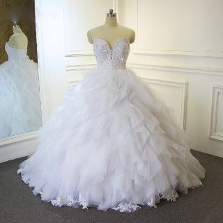 Renee's Organza Ruffle Strapless Wedding Dress