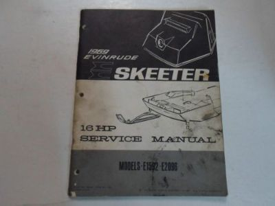 Purchase 1969 Evinrude Skeeter 16 HP E1592 E2096 Service Repair Manual STAINED FACTORY 69 motorcycle in Sterling Heights, Michigan, United States, for US $34.95