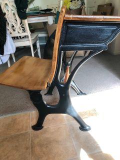 Refurbished antique school desk