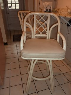 Rattan Bar Height Stool with Cushion that Swivels