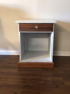 Refinished wood end table.