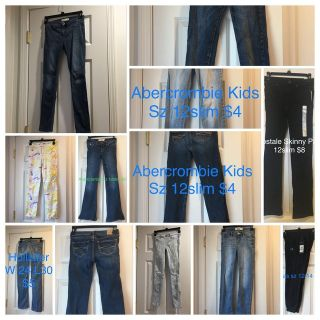 Junior Girls Hollister Jeans Jeggings pants Abercrombie sz 10/12 12 slim 24waist