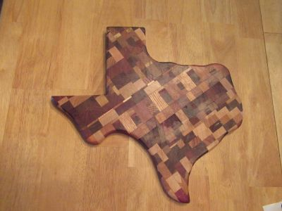 """TEXAS"" shaped in-lay wood cutting board."