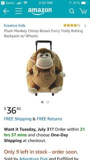 Monkey suitcase & stuffed animal. Used for trip. $36 from Amazon