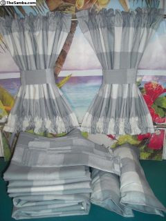 VW Bus Gray Plaid Curtains w/ Cabin Divider Panels
