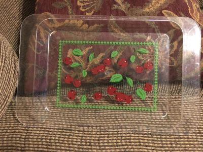 Cute Plastic Cherry Serving Tray 16 1/2 long x 10 1/2 wide Swap Only