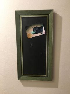 Magnetic chalk board/picture holder. Hangs either way n