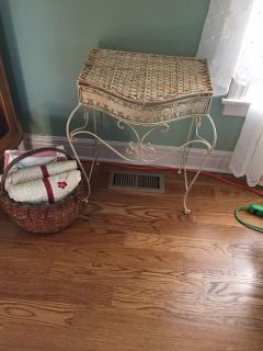 Cute Rot iron And Woven Top Wicker Table