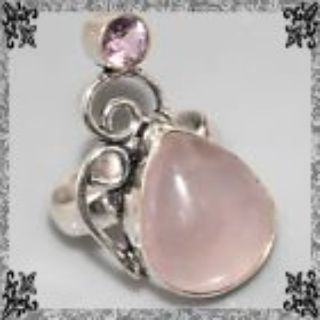 New - Rose Quartz and Pink Topaz 925 Sterling Silver Ring - Size 6