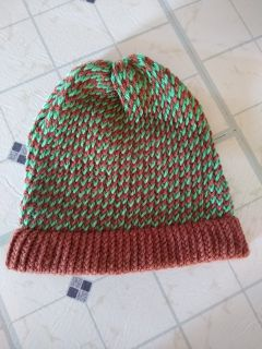 Handmade green and brown hat