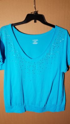 Pretty Blue Lane Bryant Top with Silver Sparkle