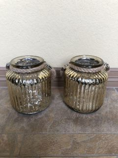 Set of 2 New Mercury Glass Lanterns/ Decor Pieces from Home Goods. Approx 8 Tall