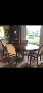 Cherry wood dining set with 4 chairs