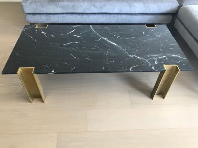 CB2 Alcide Rectangular Black Marble Coffee Table