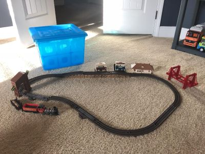Train set with blue storage container