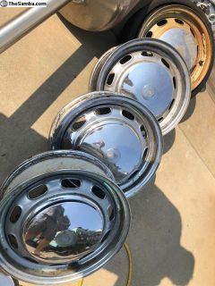 15x4 1/2 66-68 Porsche 912 chrome steel wheels