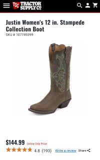 Justin 10B Women's 12 inch Stampede Collection Boots