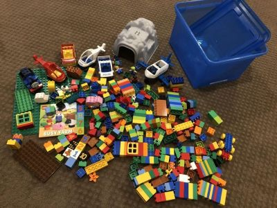 Bankers box full of Duplo lego pieces