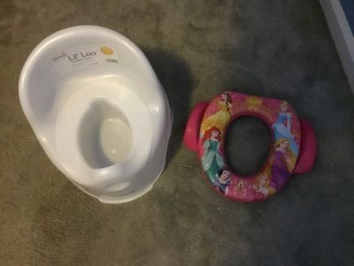 Potty chair and Disney potty seat for potty training.