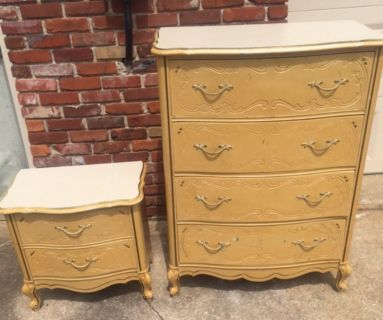 French Provincial chest and nightstand
