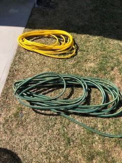 Electric weed trimmer, and 150 feet of garden hose, 5/8.