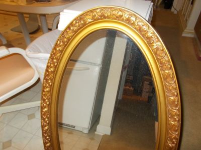 Large Oval Decorative Gold Wooden Frame Mirror