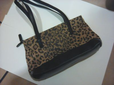 Handbags & Purses: Leopard Print Body and Black Bottom - Shoulder/Two Handled