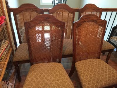 5 Cane back solid wood dining kitchen chairs