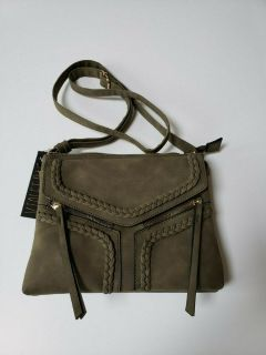 nwt violet ray nyc magnetic flap crossbody purse * olive