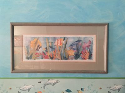 Ocean Scene Caribbean Fish Picture with Muted Green Frame and Glass Framed Wall Art