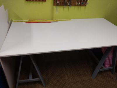 IKEA desk/table with saw horse legs