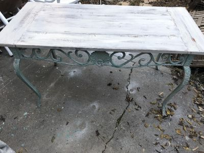 Table. Wood and wrought iron